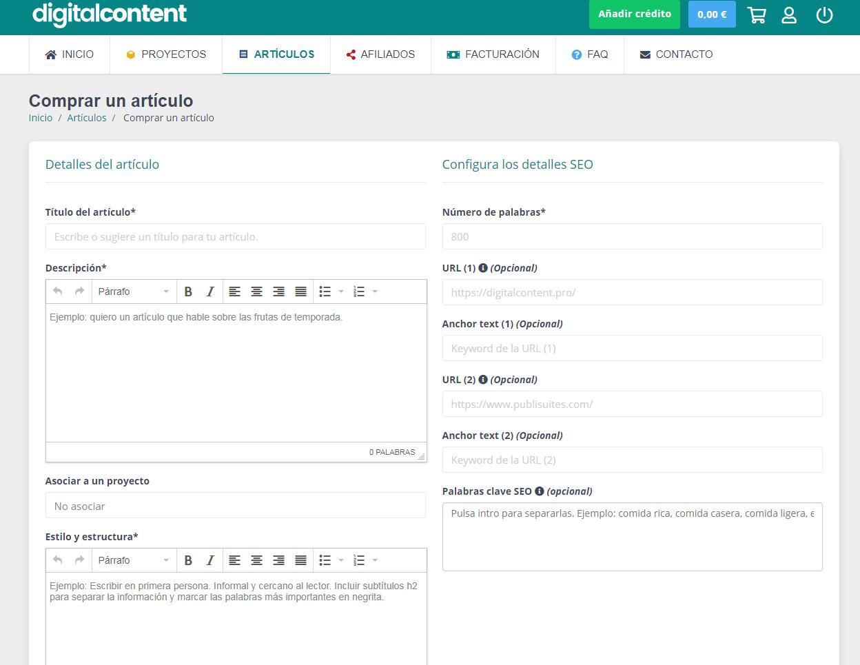 comprar artículos en digital content