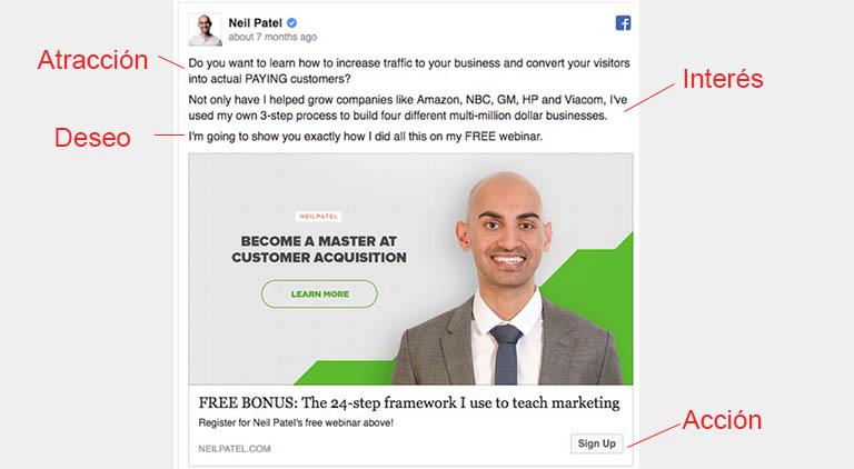 método aida en anuncios de Neil Patel