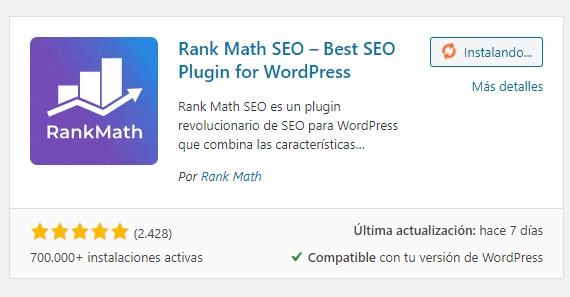 instalar rank math seo en wordpress