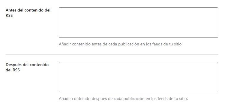 añadir contenido al feed RSS desde rank math